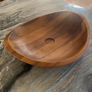 Nambé chip and dip bowl acacia wood platter